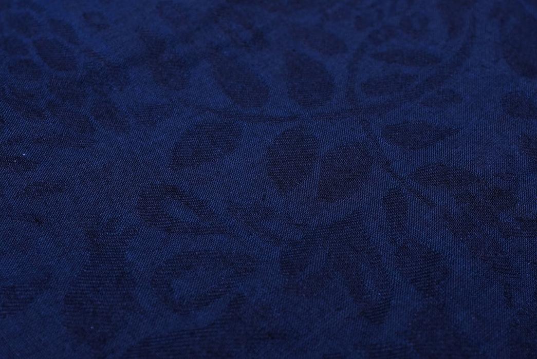 Okayama-Denim-x-Momotaro-Indigo-Jacquard-Paisley-Aloha-Shirt-detailed