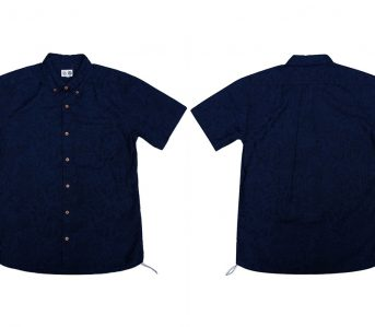 Okayama-Denim-x-Momotaro-Indigo-Jacquard-Paisley-Aloha-Shirt-front-back
