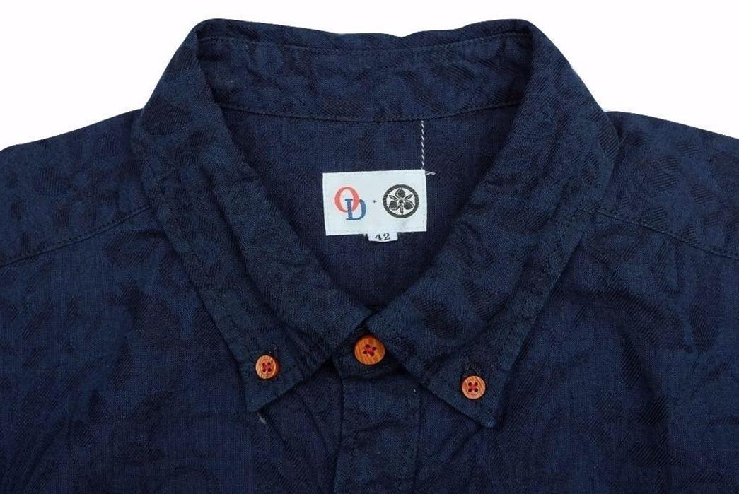 Okayama-Denim-x-Momotaro-Indigo-Jacquard-Paisley-Aloha-Shirt-front-collar