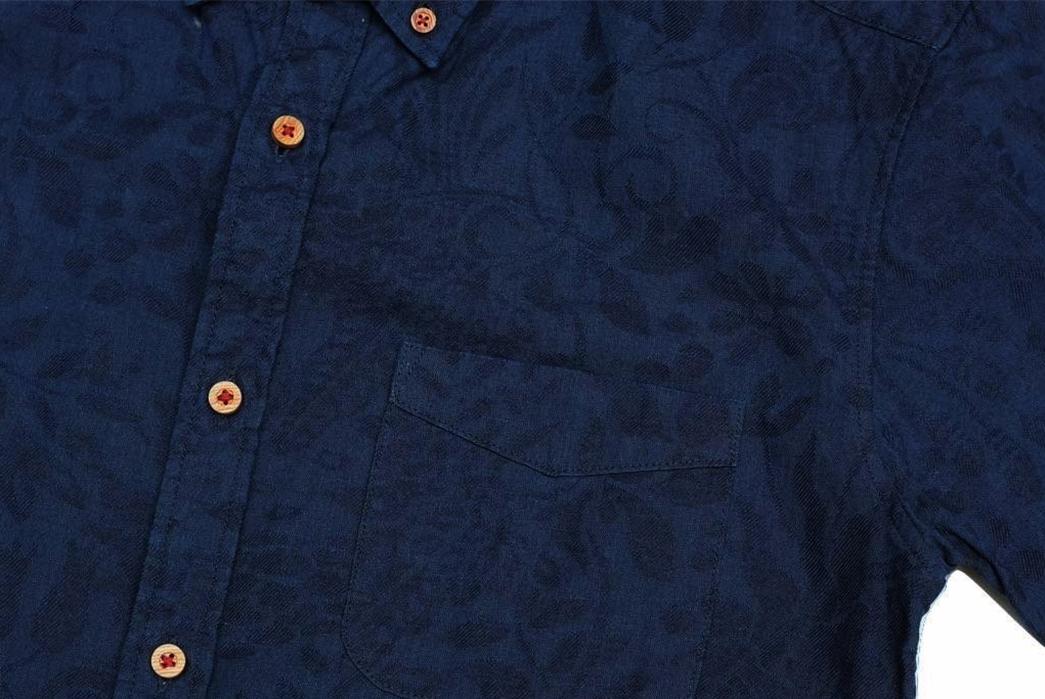Okayama-Denim-x-Momotaro-Indigo-Jacquard-Paisley-Aloha-Shirt-front-detailed