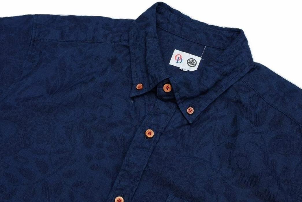 Okayama-Denim-x-Momotaro-Indigo-Jacquard-Paisley-Aloha-Shirt-front-top