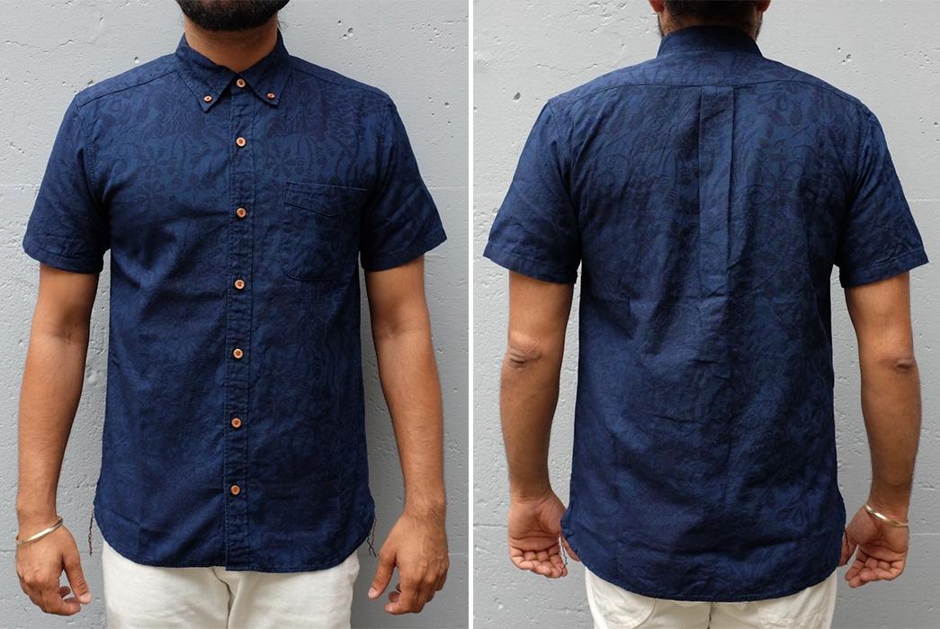 Okayama-Denim-x-Momotaro-Indigo-Jacquard-Paisley-Aloha-Shirt-model-front-back