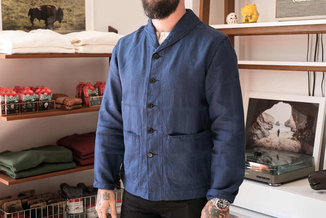 Stevenson-Overall-Seaman-Shawl-Collar-Deck-Jacket-model-front
