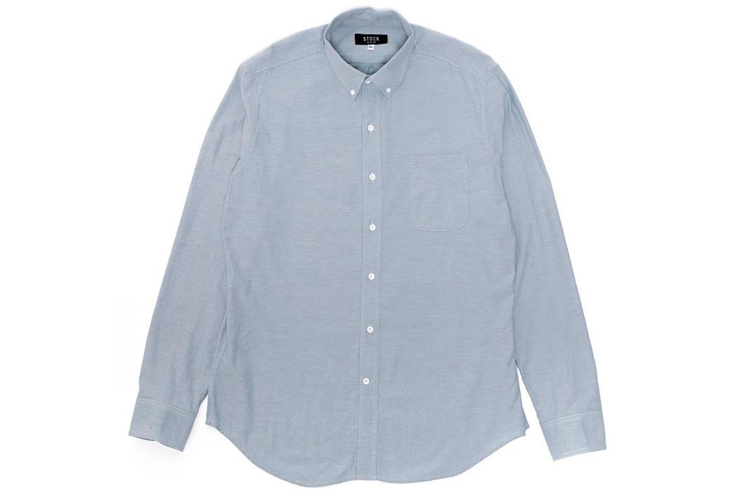 Stock-MFG-Co.-Blue-Fleck-Button-Down-Shirt-front
