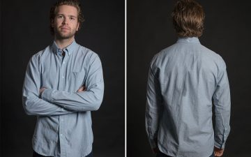 Stock-MFG-Co.-Blue-Fleck-Button-Down-Shirt-model-front-back