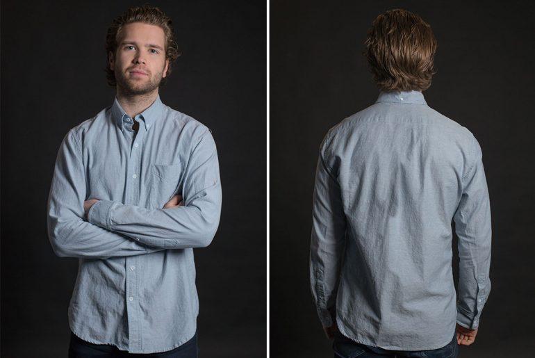Stock-MFG-Co.-Blue-Fleck-Button-Down-Shirt-model-front-back