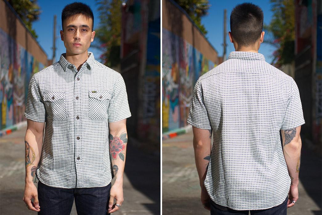 Studio-D'artisan-Strawberry-Cough-Dobby-Short-Sleeve-Shirt-model-front-back