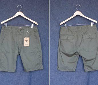 Tellason-8.5oz.-Cotton-Twill-Fatigue-Shorts-olive-front-back