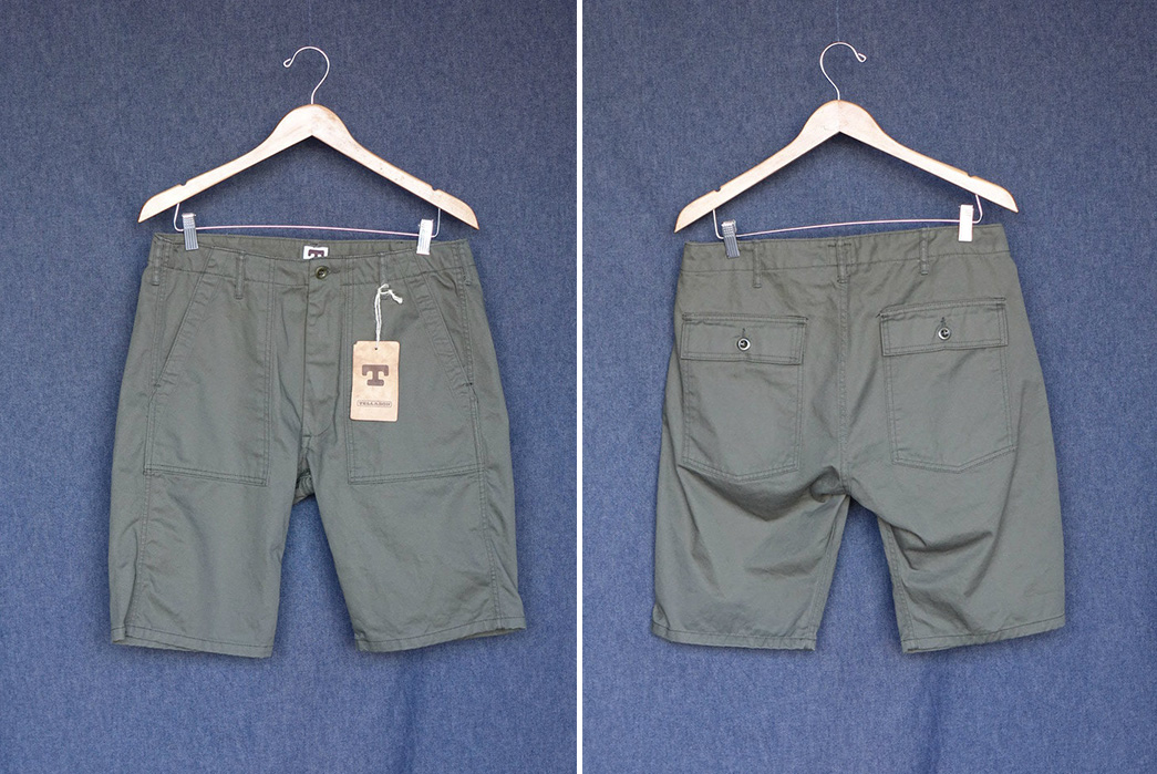 Tellason-8.5oz.-Cotton-Twill-Fatigue-Shorts-olive-front-back