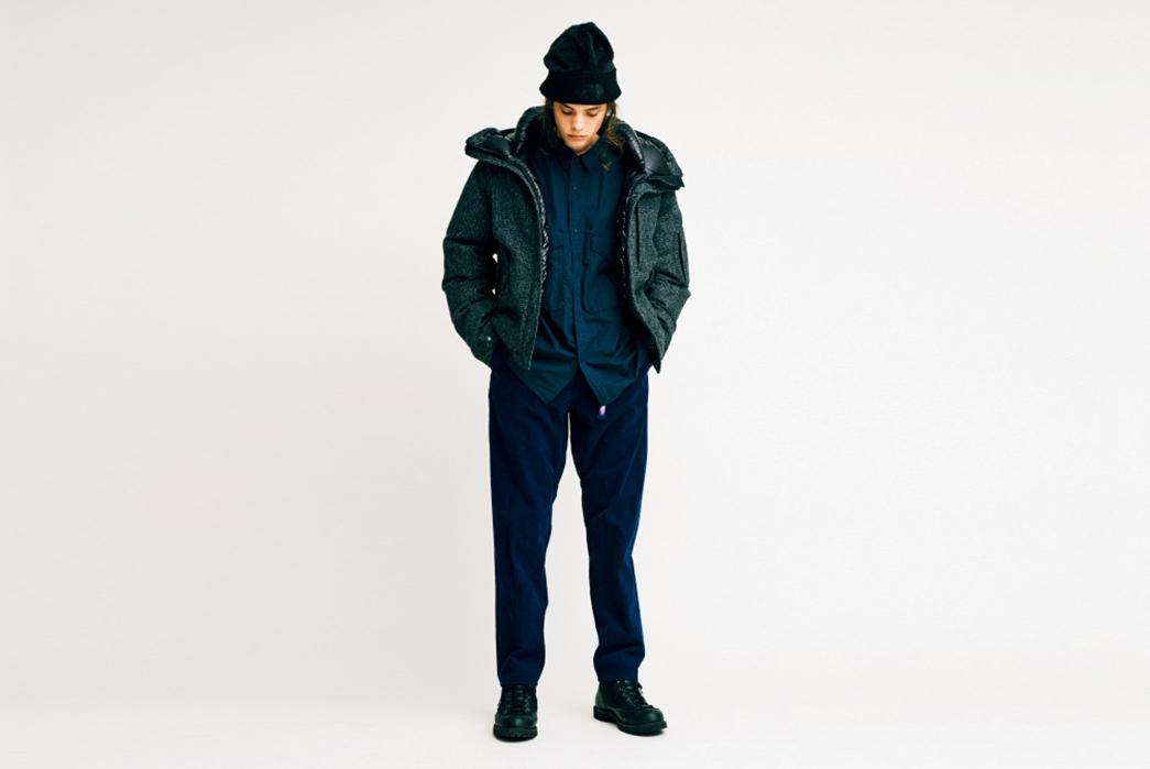 The-North-Face-Purple-Label-Fall-Winter-2017-Lookbook-male-in-dark-blue