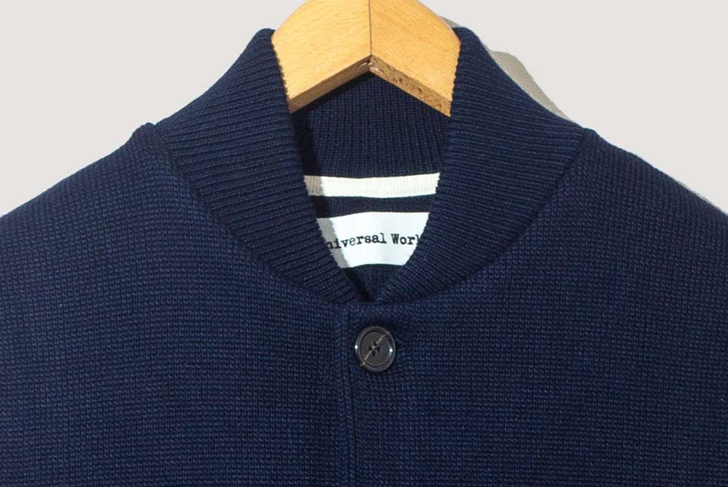 Universal-Works-Mixes-Chore-Coat-and-Cardigan-in-Their-Merino-Knit-Work-Jacket-navy-front-collar