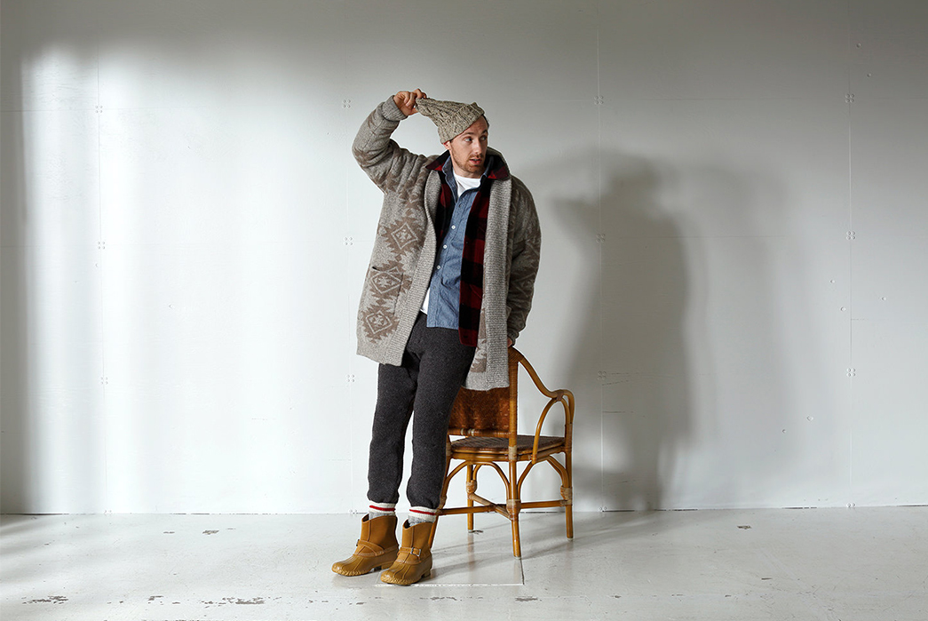 Beams-Plus-Channels-The-Beat-Generation-for-Their-Fall-Winter-2017-Lookbook-brown-and-grey-jacket-and-grey-pants