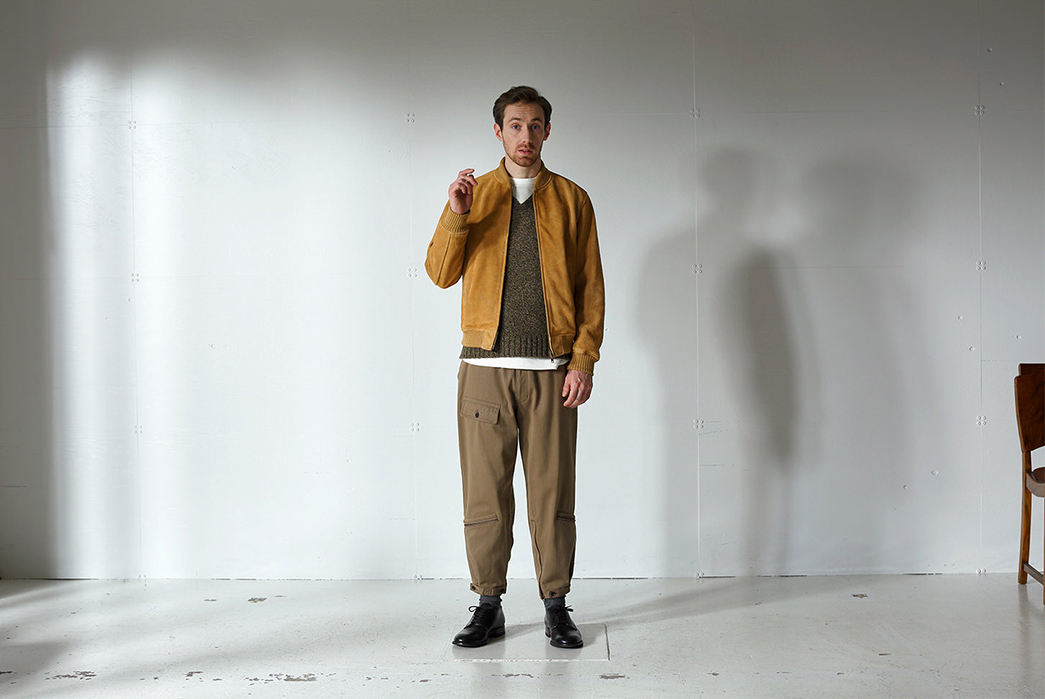 Beams-Plus-Channels-The-Beat-Generation-for-Their-Fall-Winter-2017-Lookbook-yellow-jacket-and-lighr-brown-pants