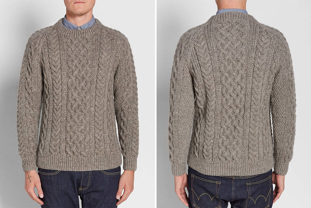 Cable-Knit-Sweaters---Five-Plus-One-3)-Inverallan-1A-Cable-Crew-in-Heather-Grey