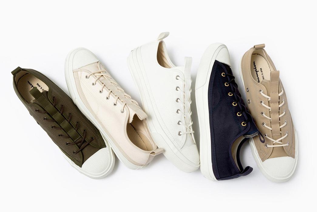 Champion-Sneaks-into-Made-in-Japan-Footwear-green-light-beige-white-blue-and-dark-beige