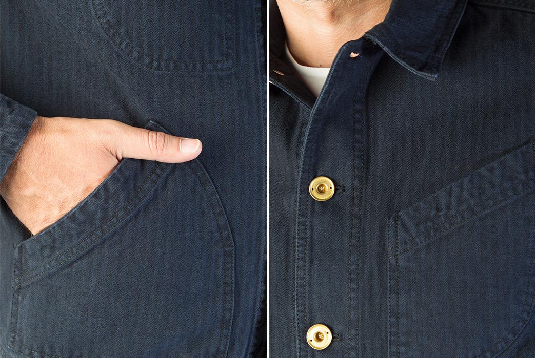 Hansen-Herringbone-Laust-Work-Jacket-pocket-and-buttons