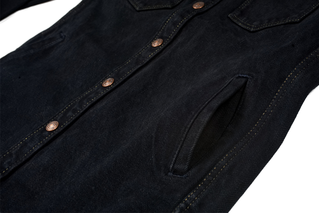 Iron-Heart-18oz.-Overdyed-Denim-CPO-Shirt-(With-Hand-Pockets!)-front-pocket-and-buttons