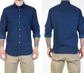 Livid-Jeans-Kirby-Japan-Blue-Sashiko-Snap-Shirt-model-front-back