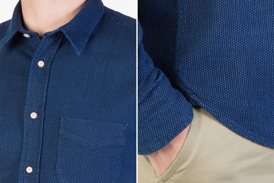 Livid-Jeans-Kirby-Japan-Blue-Sashiko-Snap-Shirt-model-front-detailed-and-sleeve