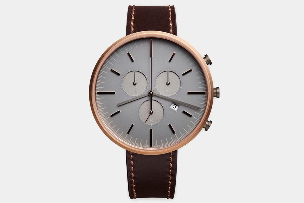 Minimalist-Quartz-Chronograph-Watches---Five-Plus-One-Plus-One---Uniform-Wares-M42-Chronograph-Rose-Gold-Watch