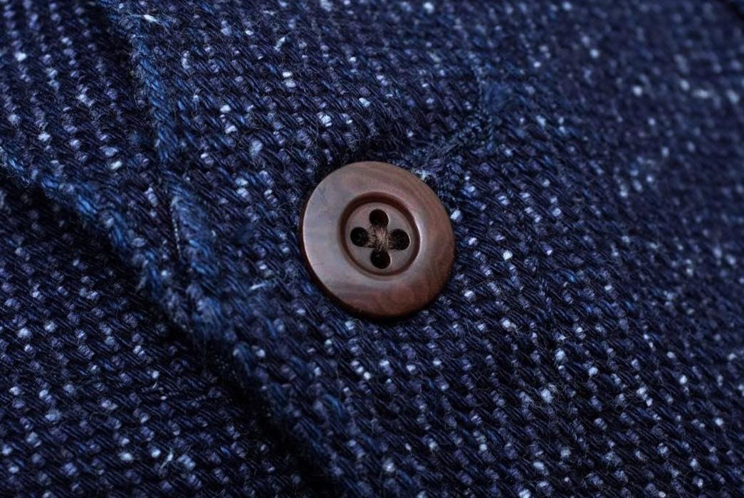 Momotaro-Indigo-Tweed-Hunting-Vest-button