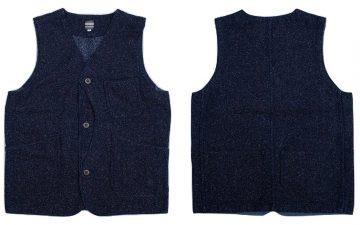 Momotaro-Indigo-Tweed-Hunting-Vest-front-back