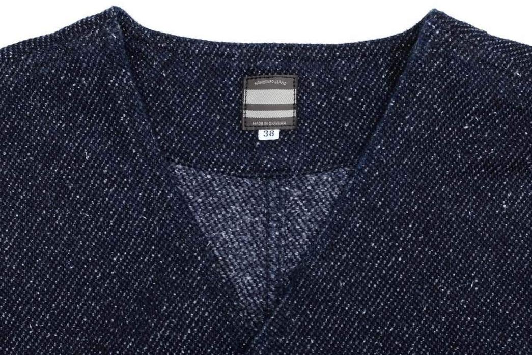 Momotaro-Indigo-Tweed-Hunting-Vest-front-collar