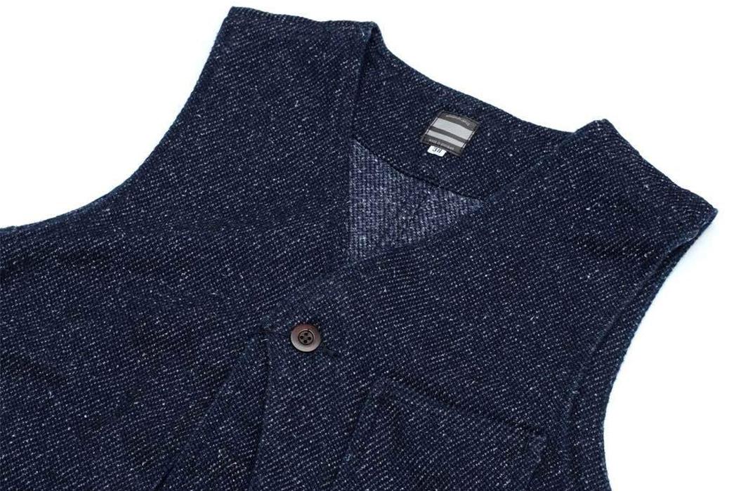 Momotaro-Indigo-Tweed-Hunting-Vest-front-top