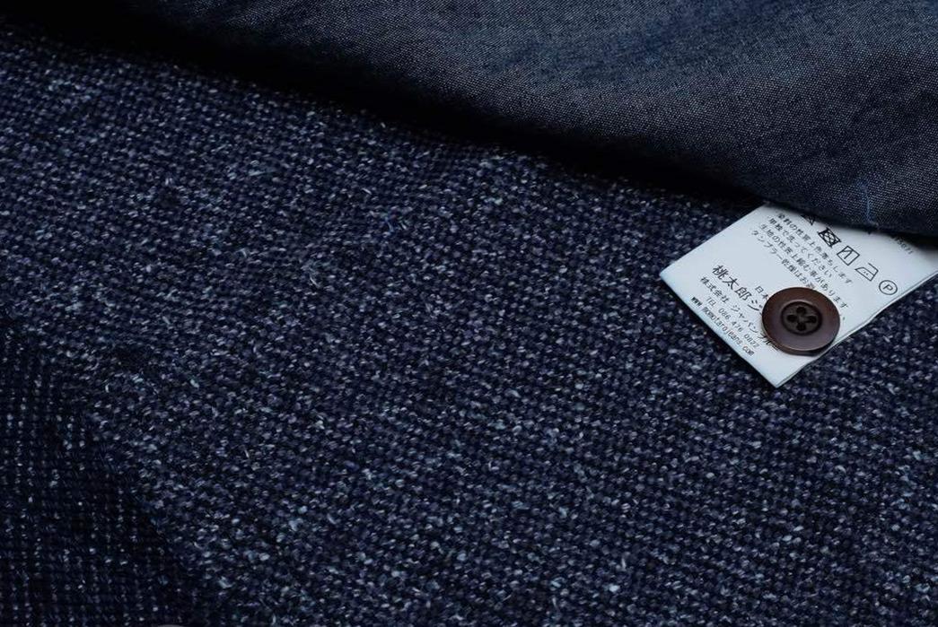 Momotaro-Indigo-Tweed-Hunting-Vest-label