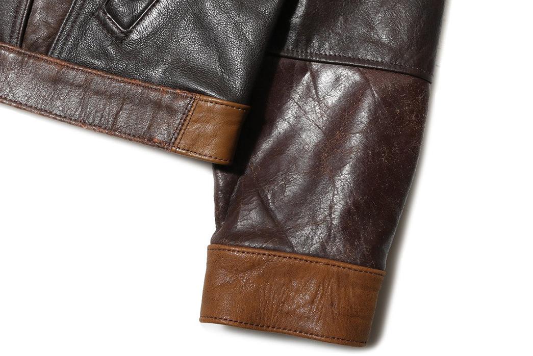 Needles-Rebuild-Leather-Jean-Jacket-front-sleeve