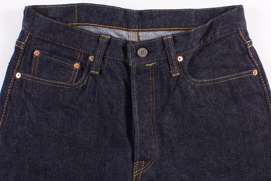 Pure-Blue-Japan-PBE-019-17.5oz.-Pop-Up-Beige-Selvedge-Jeans-front-top