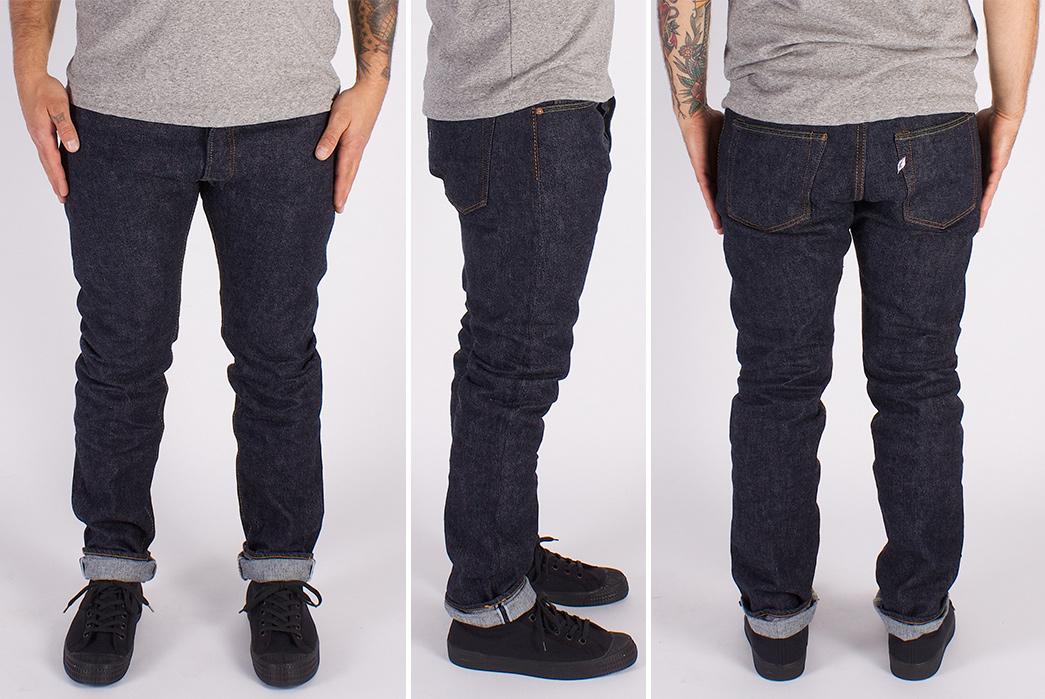 Pure-Blue-Japan-PBE-019-17.5oz.-Pop-Up-Beige-Selvedge-Jeans-model-front-side-back