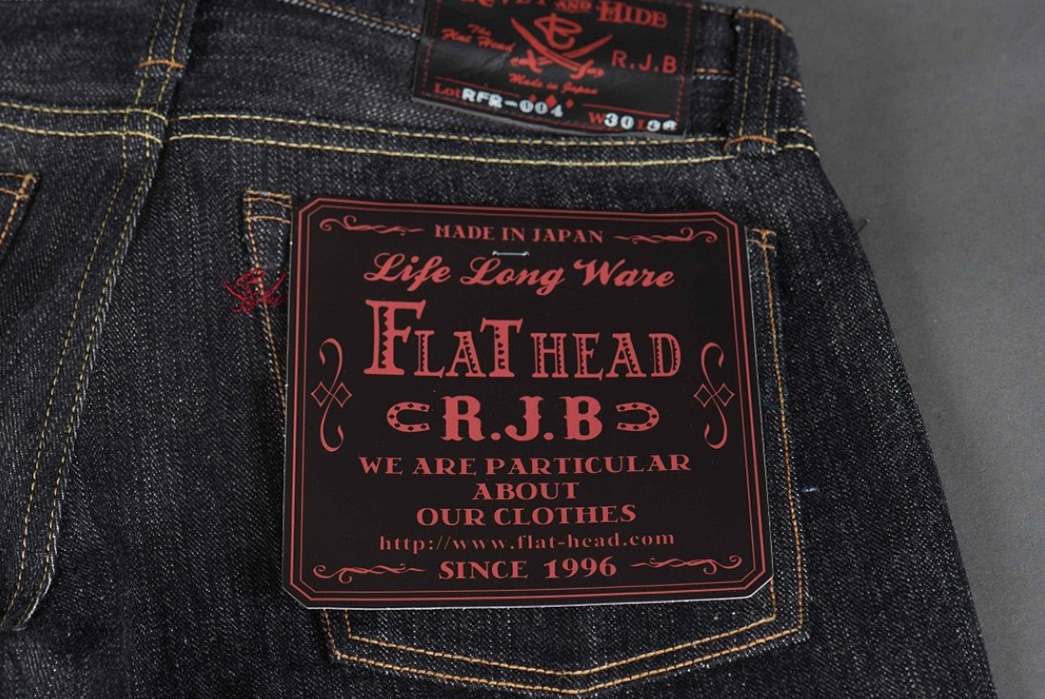 Real-Japan-Blues-x-Rivet-&-Hide-RFR-004-Left-Hand-Twill-Jeans-back-leather-patch-and-label