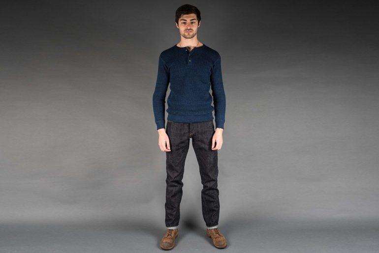 Real-Japan-Blues-x-Rivet-&-Hide-RFR-004-Left-Hand-Twill-Jeans-model-front</a>