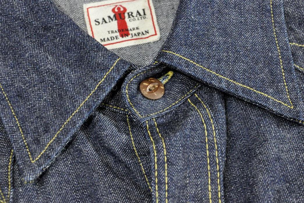 Samurai-10.5oz-Western-'Blade-Star'-Denim-Shirt-front-collar-label-button