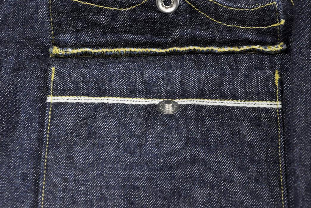Samurai-10.5oz-Western-'Blade-Star'-Denim-Shirt-front-pocket-open