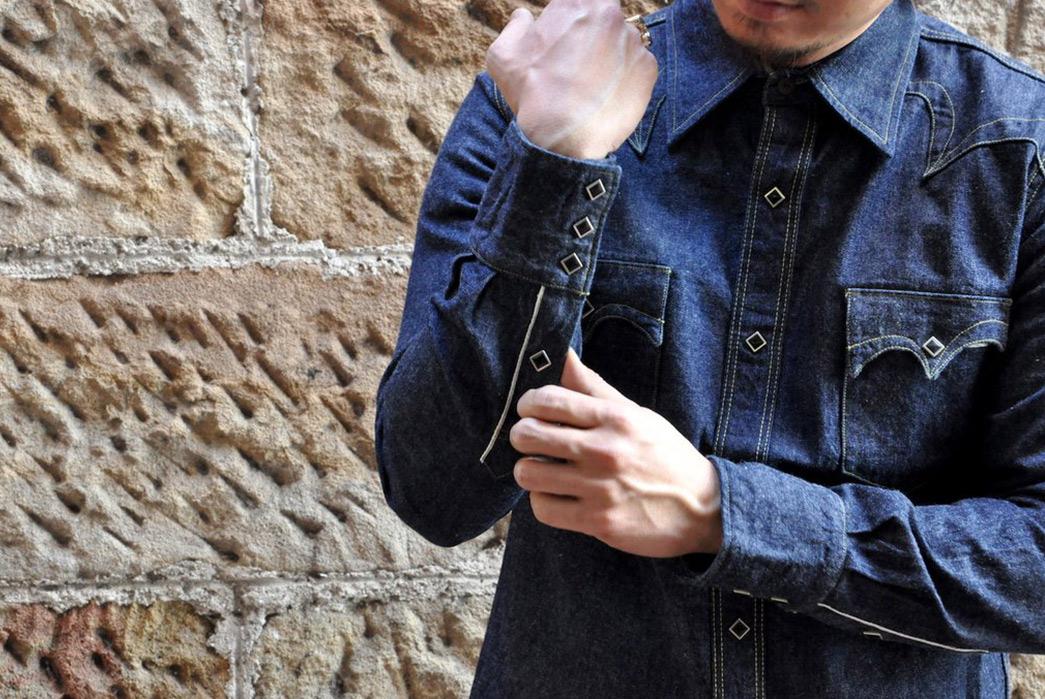 Samurai-10.5oz-Western-'Blade-Star'-Denim-Shirt-front-sleeves-model buttons