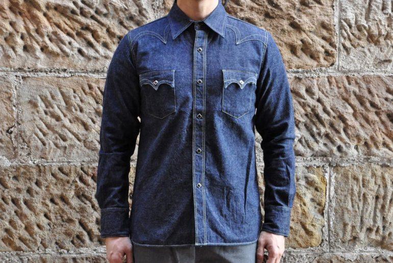Samurai-10.5oz-Western-'Blade-Star'-Denim-Shirt-model front