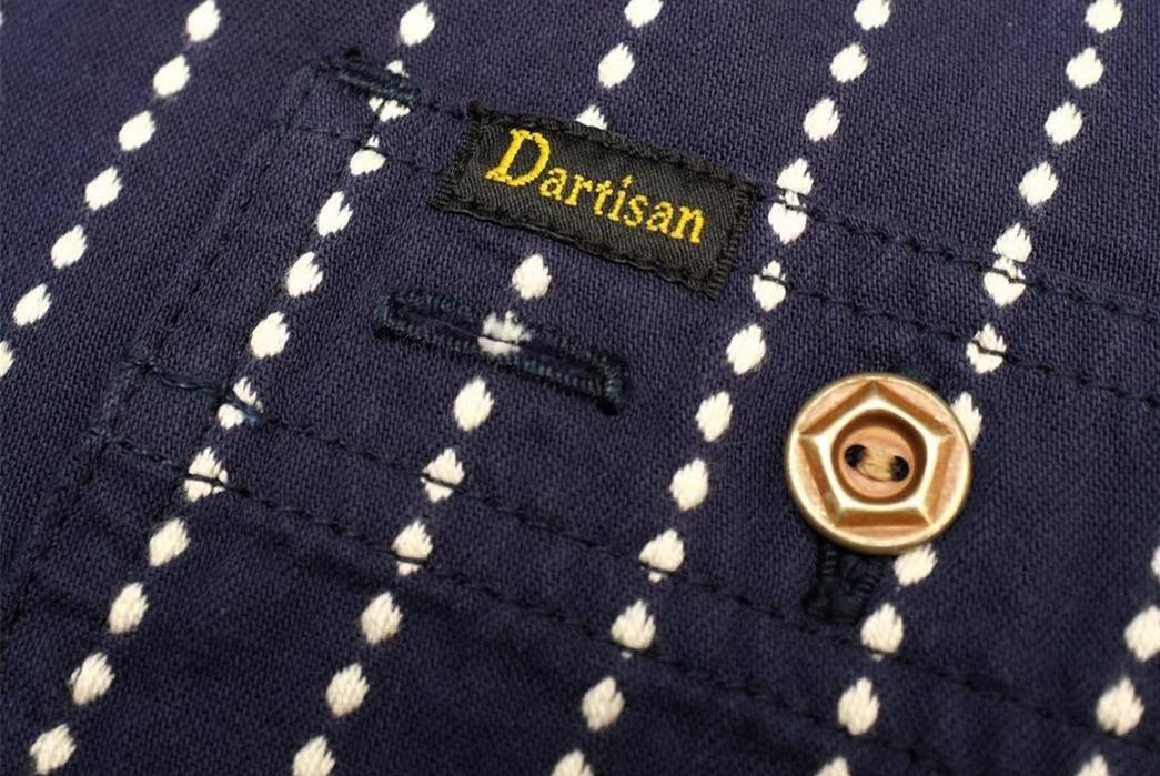 Studio-D'artisan-5596-Dobby-Sashiko-Work-Shirt-front-button-label-pocket