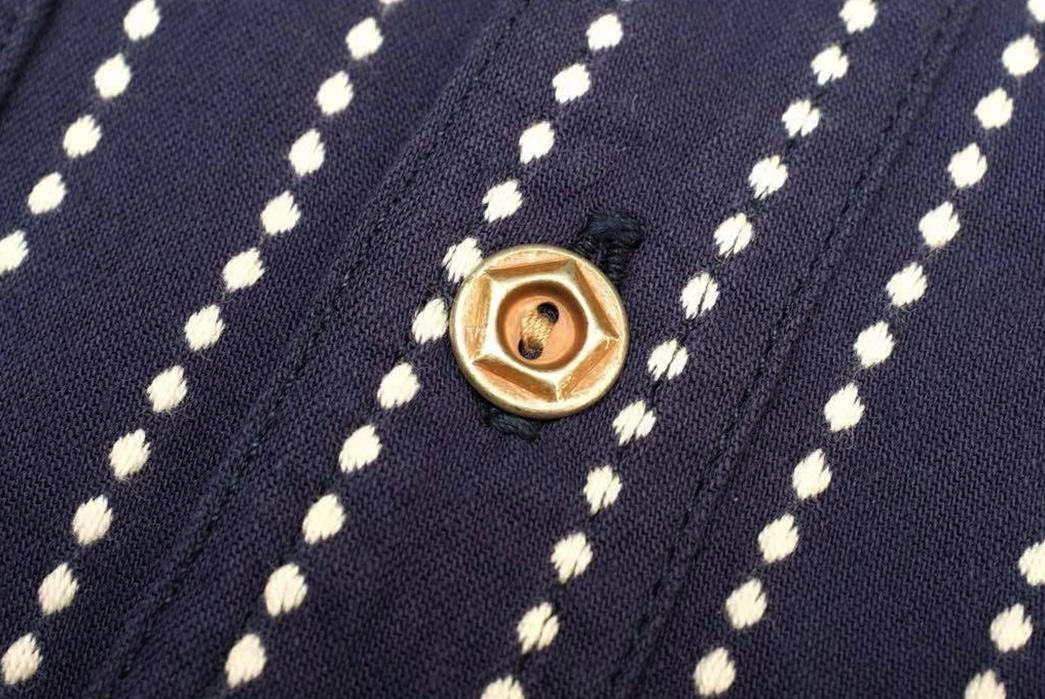 Studio-D'artisan-5596-Dobby-Sashiko-Work-Shirt-front-button