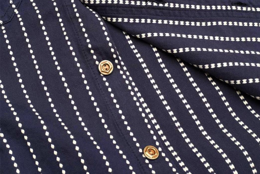 Studio-D'artisan-5596-Dobby-Sashiko-Work-Shirt-front-buttons