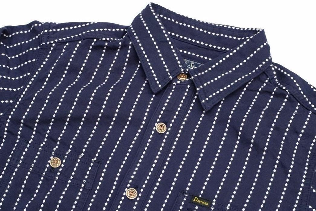 Studio-D'artisan-5596-Dobby-Sashiko-Work-Shirt-front-top