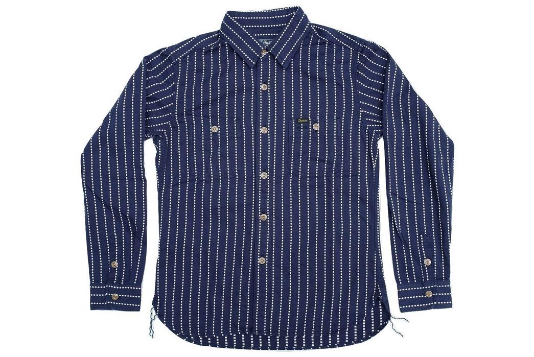 Studio-D'artisan-5596-Dobby-Sashiko-Work-Shirt-front