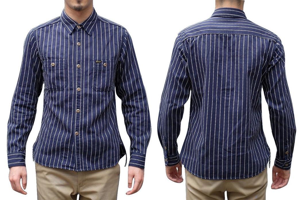 Studio-D'artisan-5596-Dobby-Sashiko-Work-Shirt-model-front-back