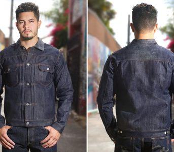 Studio-D'artisan-Supima-x-Giza-Cotton-Denim-Jacket-model-front-back