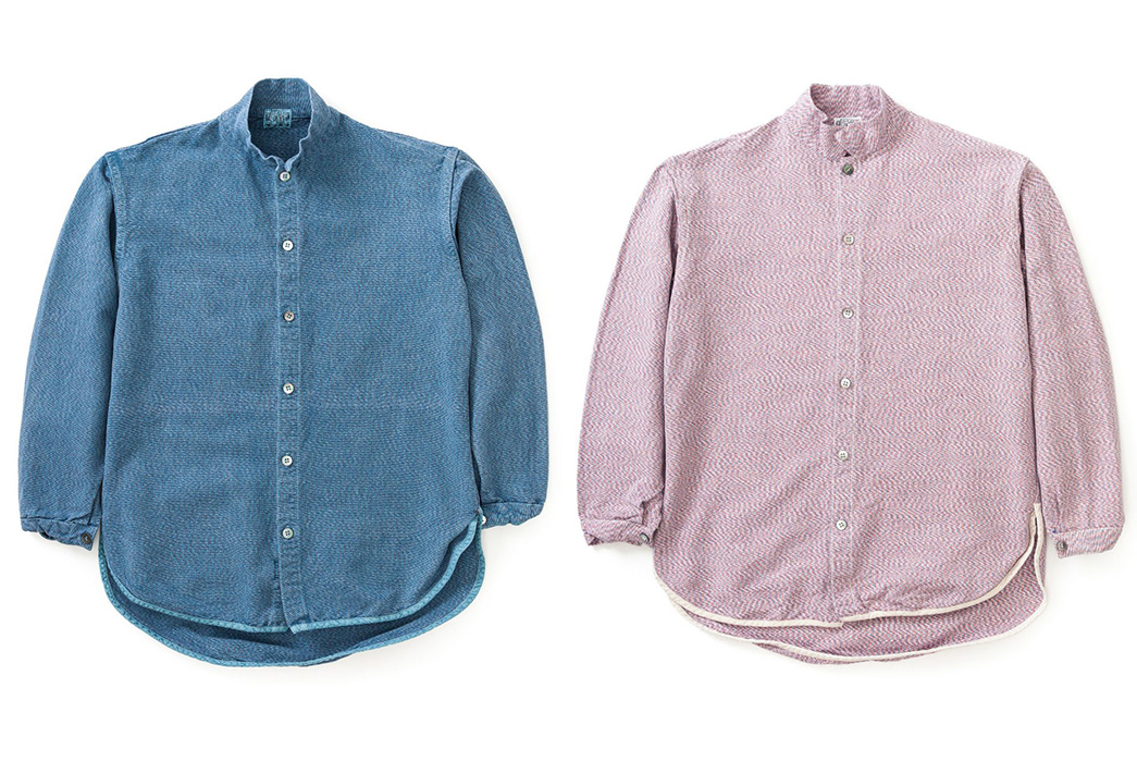 Tender's-Type-422-Tricolore-Weft-Bound-Shirts-are-Trippy-blue-and-light-rose-front