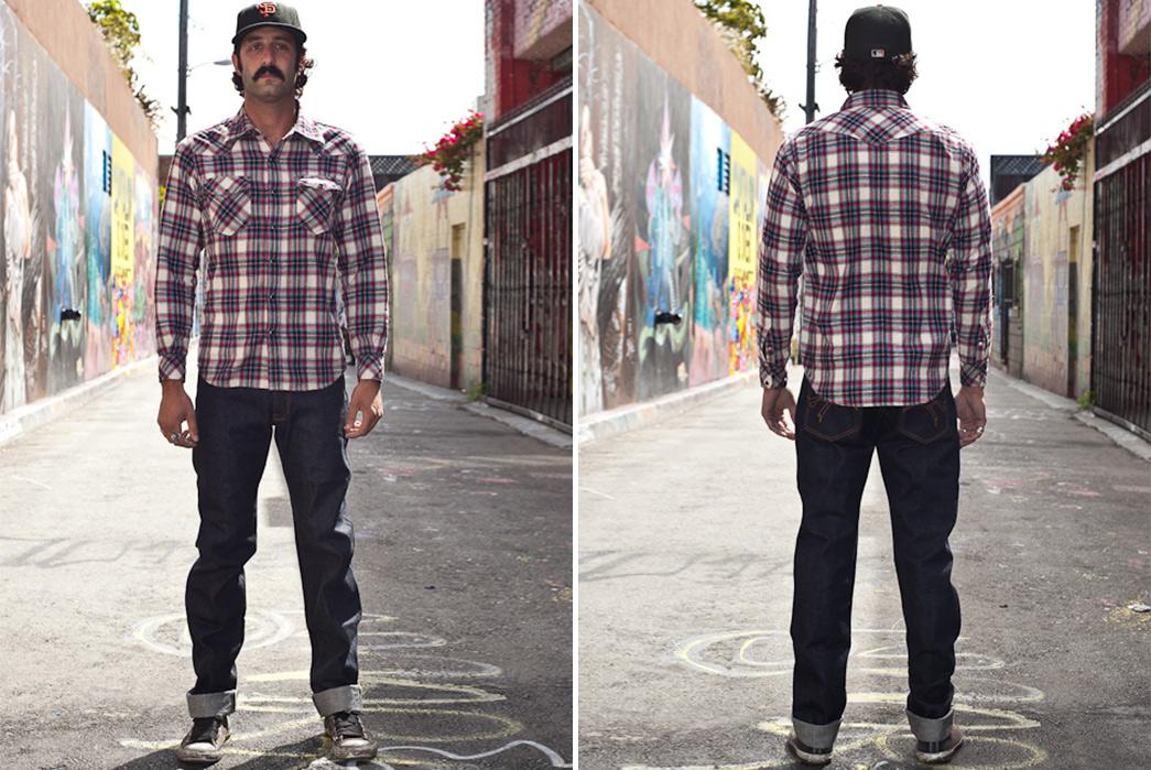 The-Flat-Head-3009-Raw-Denim-Jeans-model-front-back
