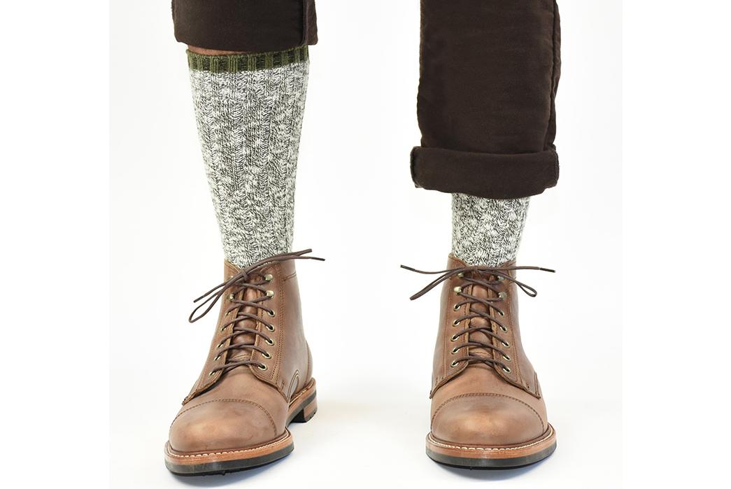 American-Trench-Slub-Socks-model-green