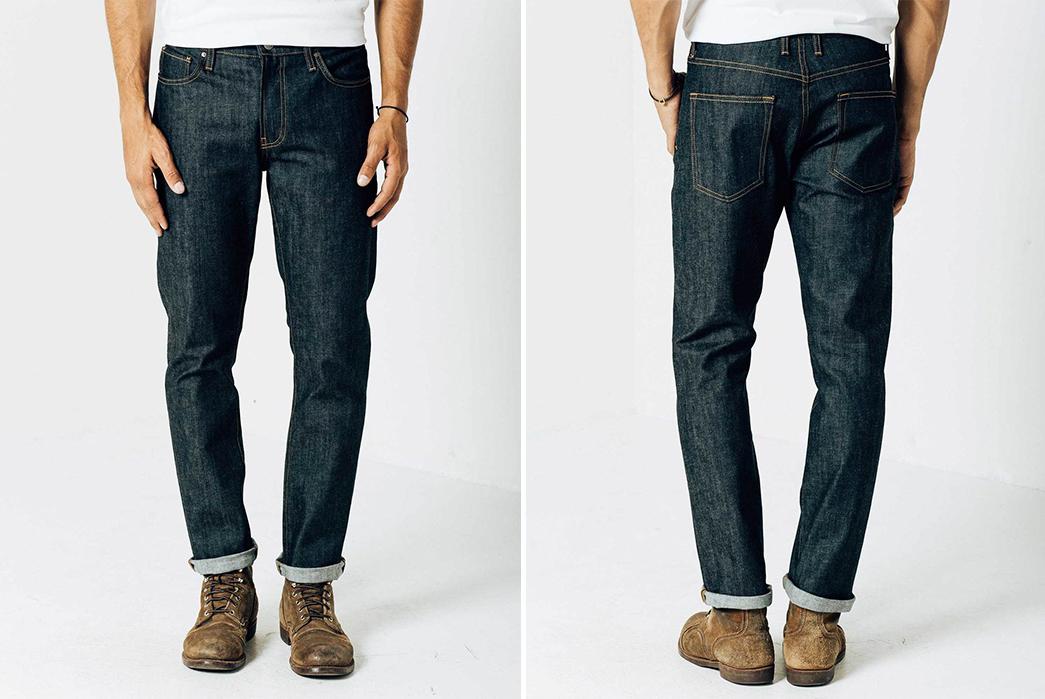 DSTLD-Slim-24-Dips-Raw-Denim-Jeans-model-front-back