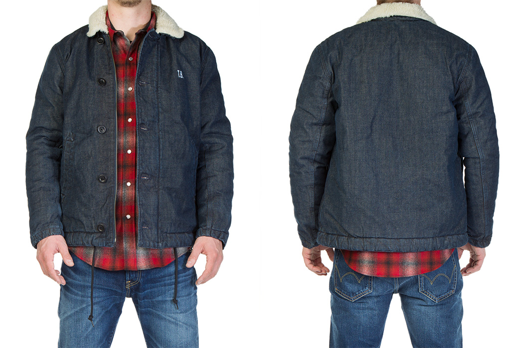 Edwin's-Deck-Jacket-Fuses-Raw-Denim-With-Faux-Fur-model-front-back